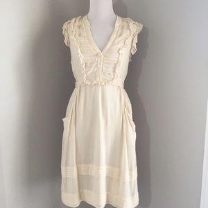 Anthropologie odille Ivory ruffle dress 4 short